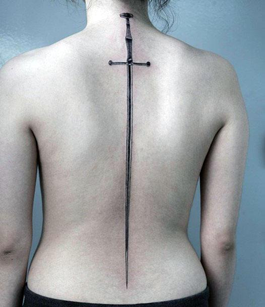 Womens Large Sword Spine Tattoo