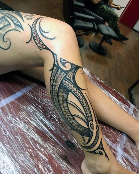 Womens Legs Amazing Tribal Tattoo