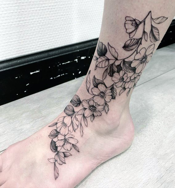 Womens Legs Lovely Cherry Blossom Tattoo