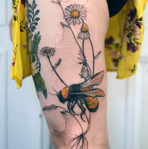 Womens Legs Realistic Bee And Flowers Tattoo