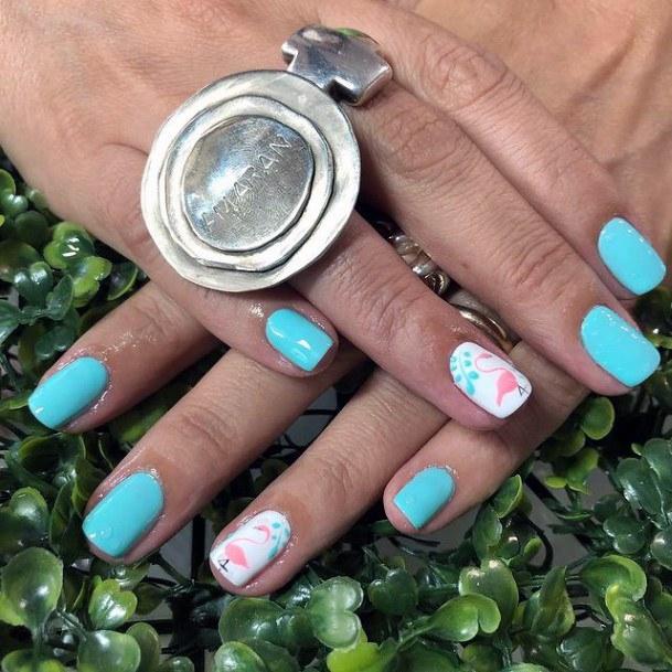 Womens Light Blue Flamingo Nails