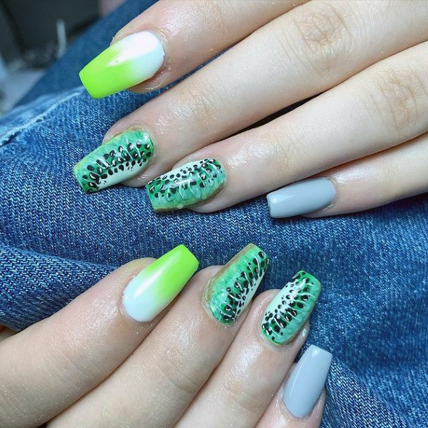 Womens Light Kiwi Nails