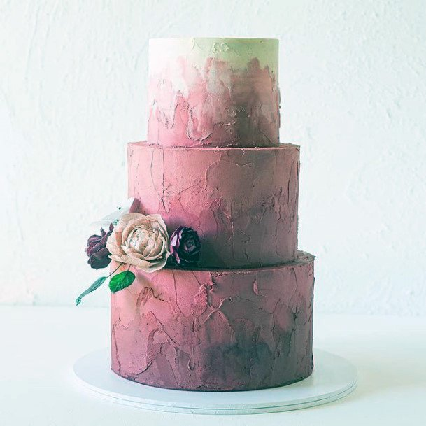 Womens Light Pink Shaded Fall Wedding Cake