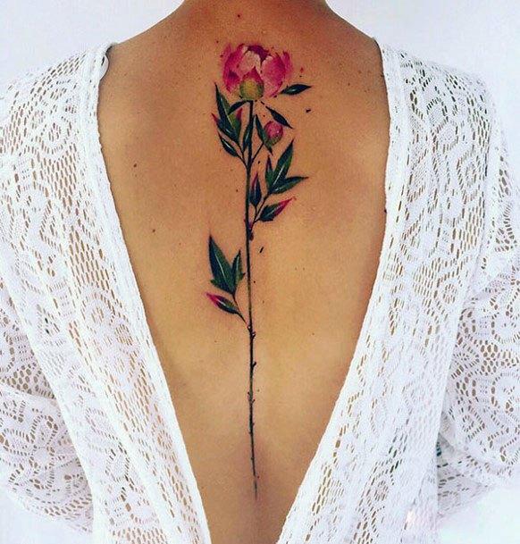 Womens Long Stemmed Rose Tattoo Spine