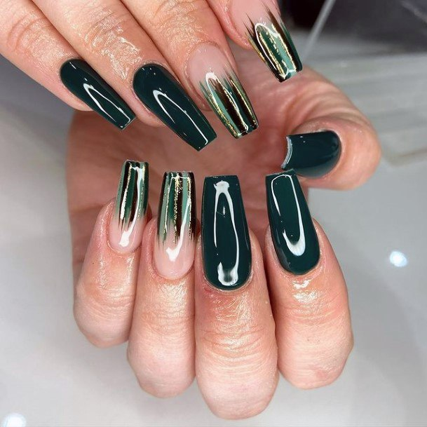 Womens Lovely Square Green Gold Nails