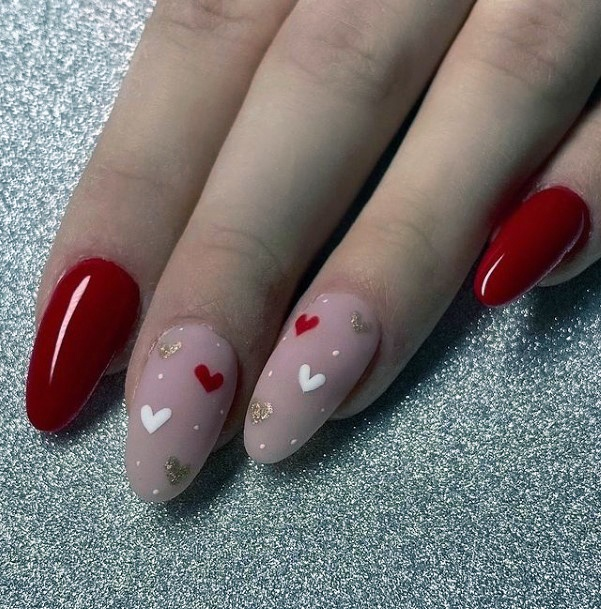 Womens Matte Accent With Hearts Romantic Nail Art
