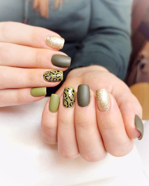 Womens Matte Green Tinted Leopard Nails