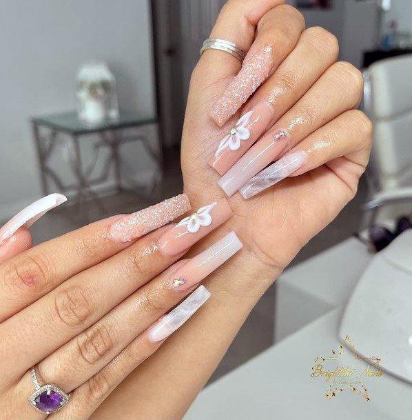 Womens Matte Peach Nails 3d Flowers