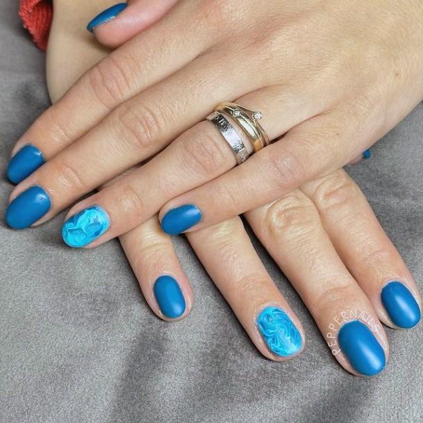 Womens Matter Blue Water Nail Accent