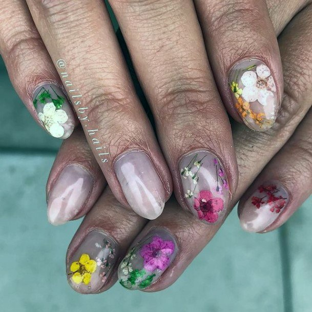 Womens Metallic Nail With Flowers April