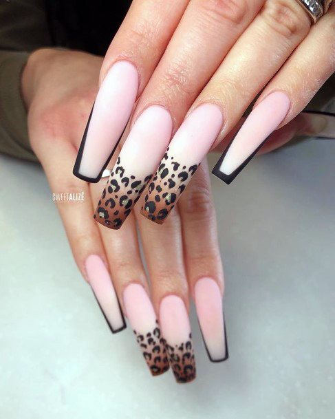 Womens Mind Blowing Pink Leopard Nails