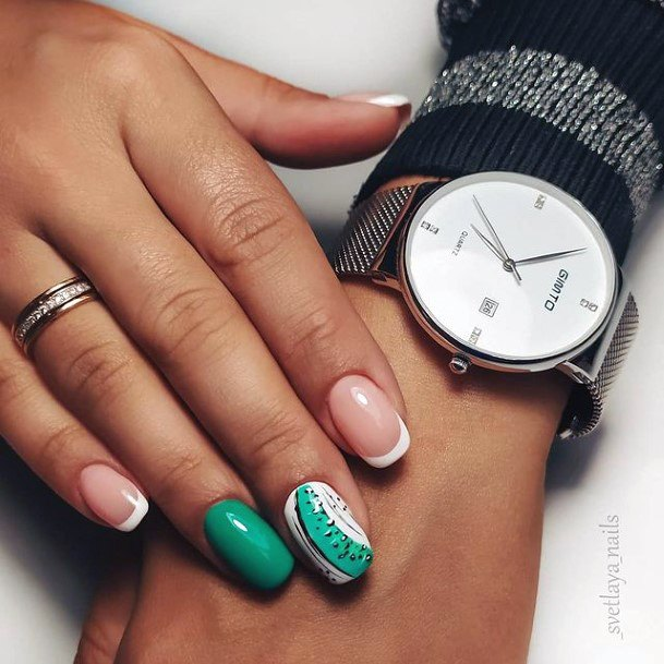 Womens Mint Green Kiwi Nails