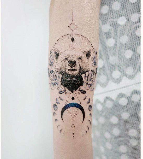 Womens Moon And Bear Tattoo
