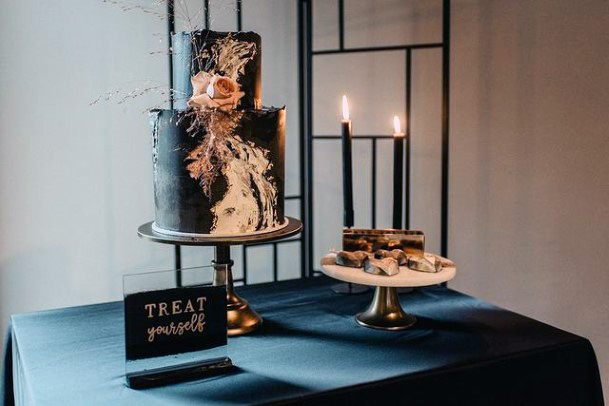 Womens Mystical And Elegant Dark Wedding Cake