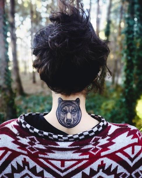 Womens Neck Back Bear Tattoo