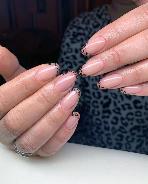 Womens Nude Nails With Leopard Tips Art