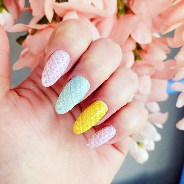 Womens Pastel Striped April Nails
