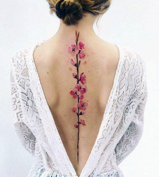 Womens Pink Florals Tattoo Spine