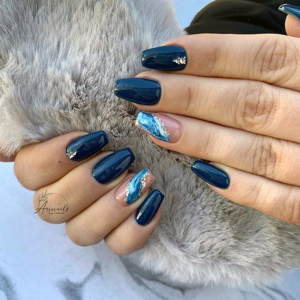 Womens Pitch Black Nails With Blue Water Nails Accent