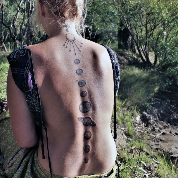 Womens Planet Grey Tattoo Spine