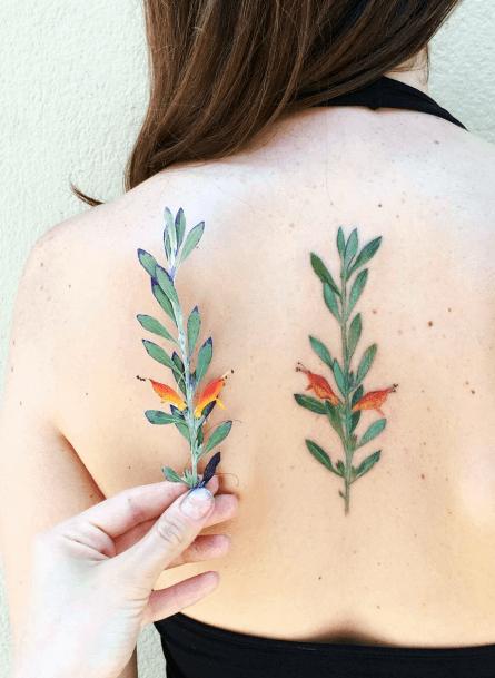Womens Plant Spine Tattoo