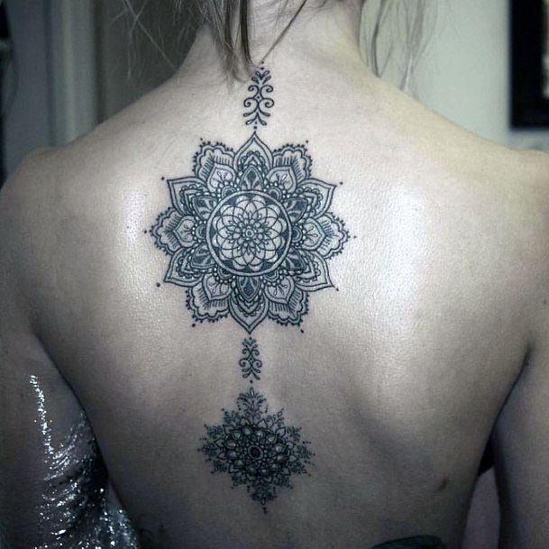 Womens Pretty Mandala Tattoo Spine