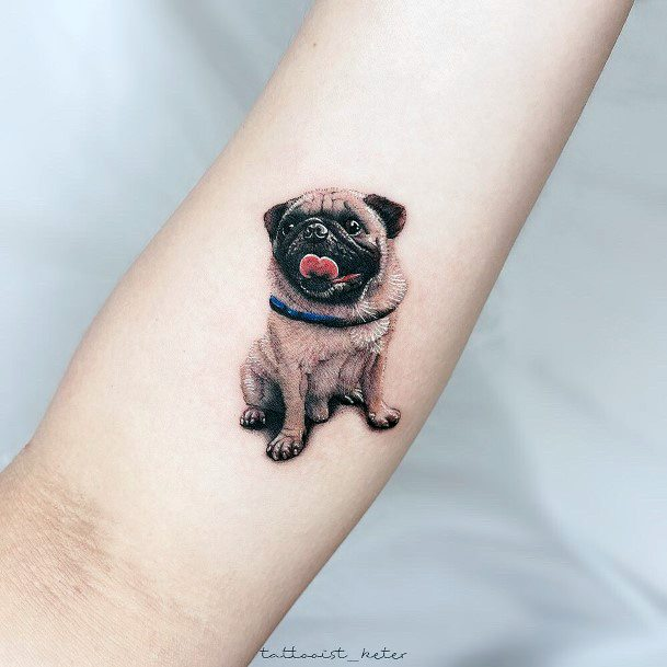 Womens Pug Dog Tattoo Hands