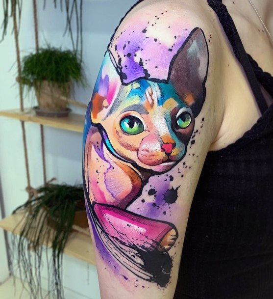 Womens Purple And Pink Cat Tattoo Arms Watercolor