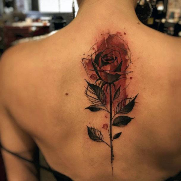 Womens Red Bloody Tattoo Spine