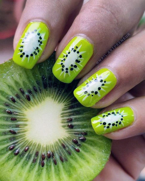 Womens Ripe Kiwi Nails