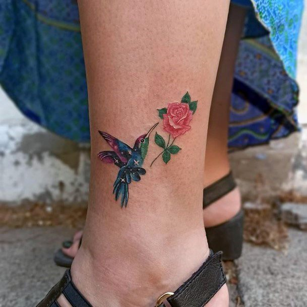Womens Rose And Hummingbird Tattoo On Ankles