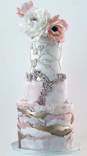 Womens Rose Gold Elegant Wedding Cake
