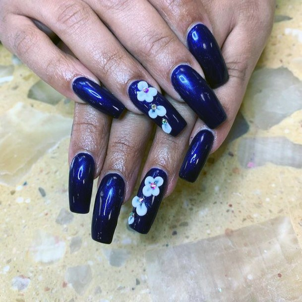 Womens Royal Blue 3d Flower Nails