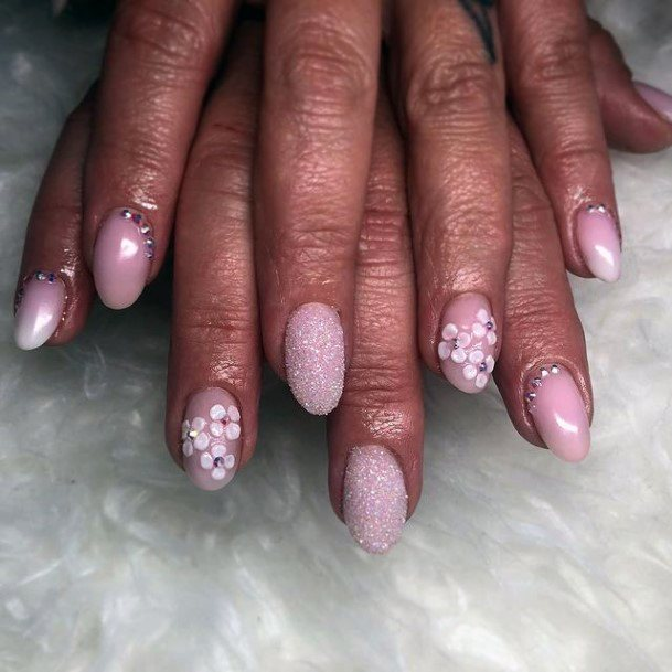 Womens Sandy Pink 3d Flowers Nails