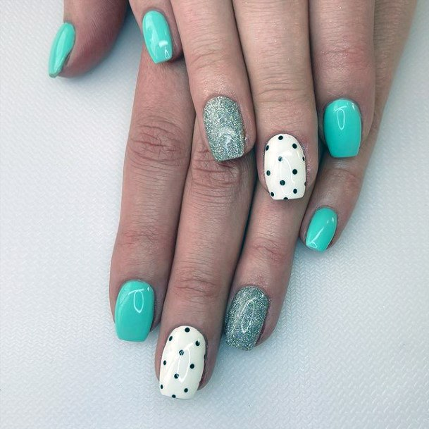 Womens Sea Blue And White April Nails Art