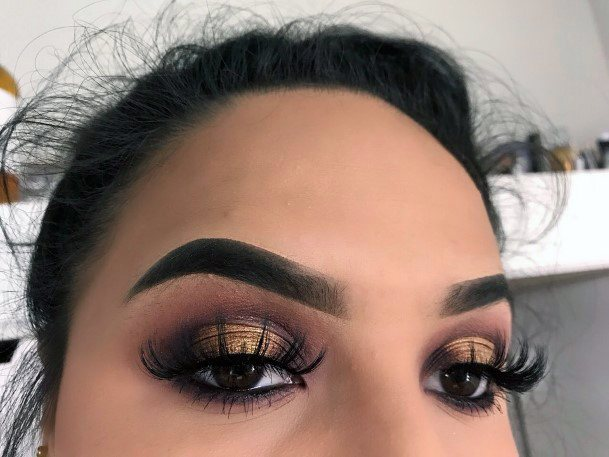 Womens Sheer Gold And Brown Eyeshadow