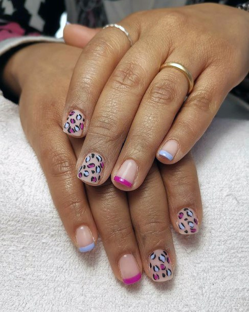 Womens Short Leopard Nails