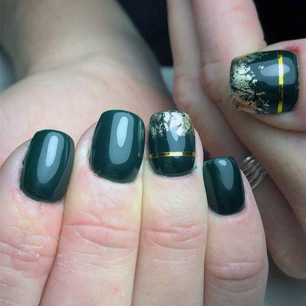 Womens Short Liquid Green Nails With Golden Ribbon