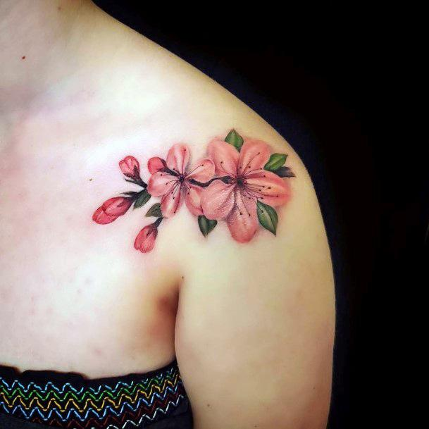 Womens Shoulders Large Pink Cherry Blossom Tattoo Art