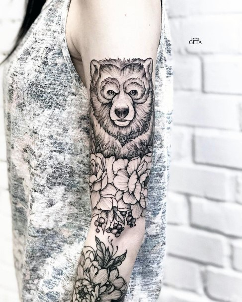 Womens Sleeves Bear And Flowers Tattoo