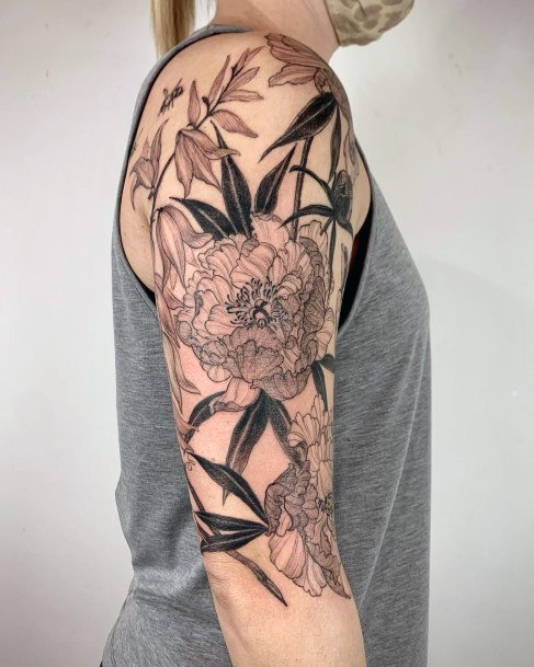Womens Sleeves Large Flowered Tattoo With Bees Art