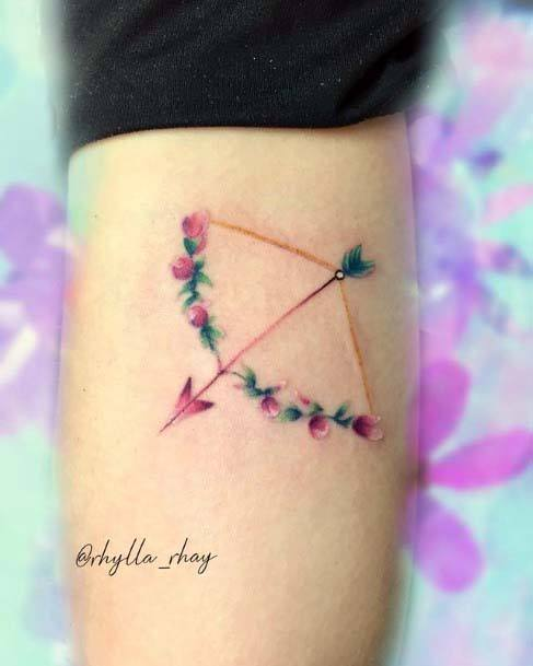 Womens Small Cute Floral Bow And Arrow Tattoo On Hands