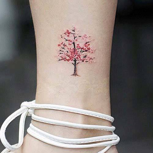 Womens Small Cute Japanese Cherry Blossom Tattoo Ankles