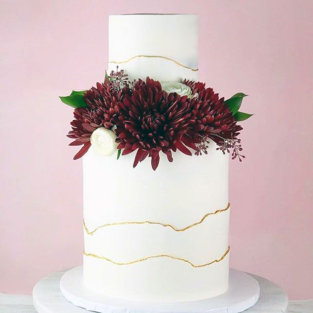 Womens Smooth White Wedding Cake Fall Flowers