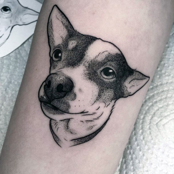 Womens Soft Eyed Dog Tattoo