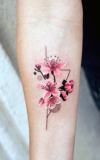 Womens Sophisticated Cherry Blosso Tattoo