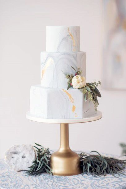 Womens Sophisticated White Marble 3 Tier Wedding Cake