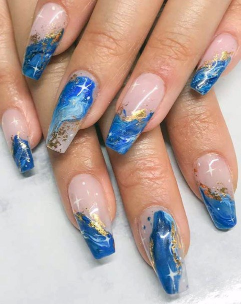 Womens Sparking Blue Water Nails