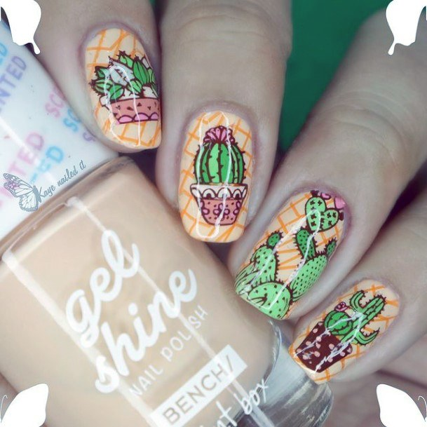 Womens Spectacular Cactus Nails