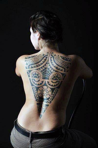 Womens Spectacular Tribal Tattoo On Back